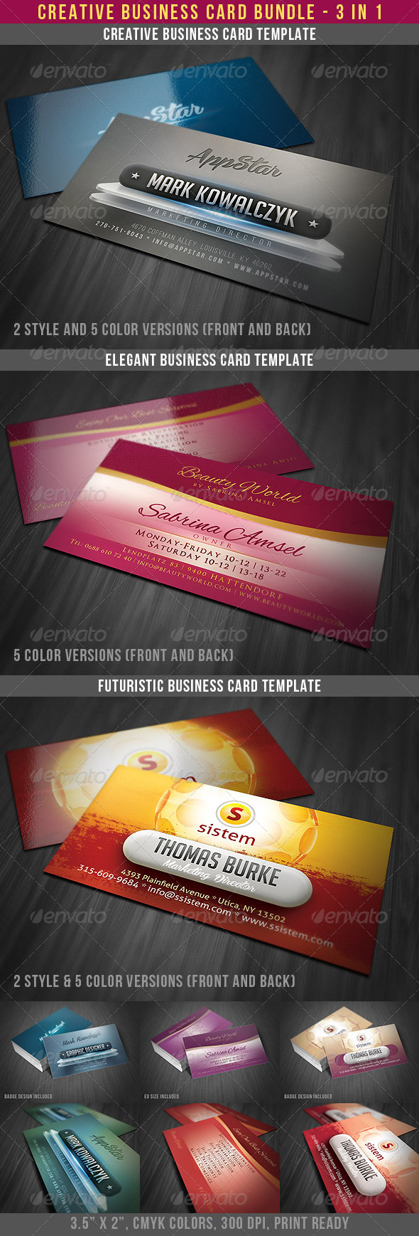 Creative Modern Business Cards Bundle - Creative Business Cards