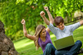 Happy people with laptop