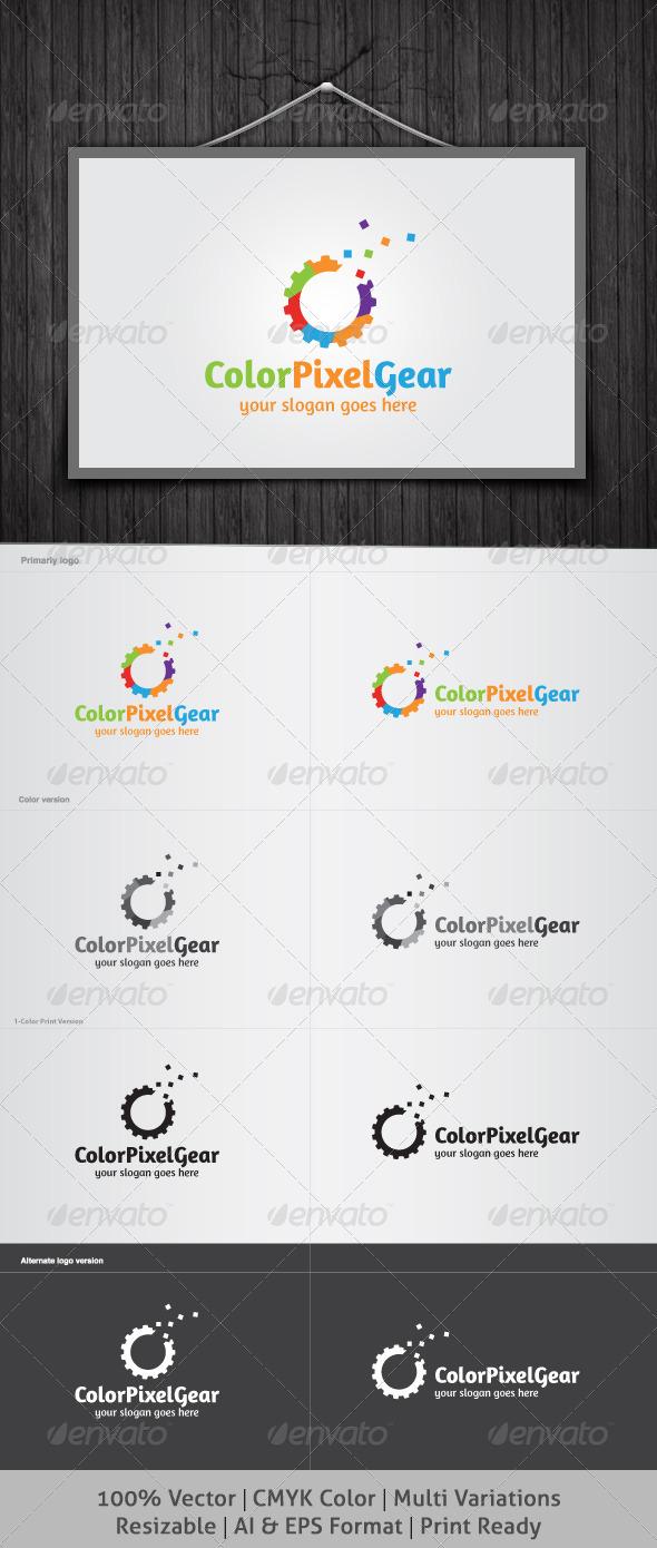 GraphicRiver Color Pixel Gear Logo 4041296