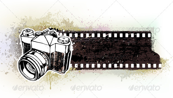 GraphicRiver Hand-Drawn Banner with Retro Camera 4041305