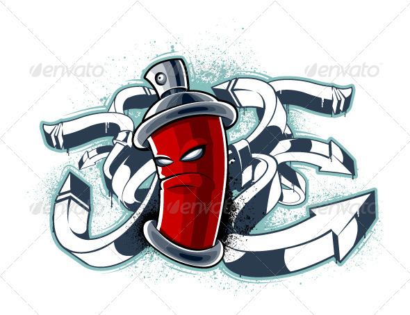 Graffiti Image of Can with Arrows | GraphicRiver