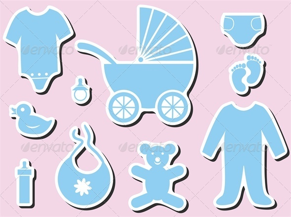 GraphicRiver Baby Shower Icons 4041323