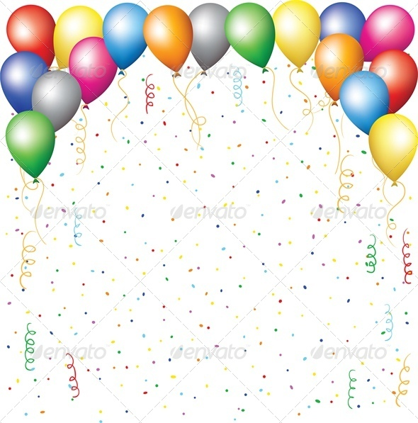 GraphicRiver Balloons Confetti and Serpantine 4041540