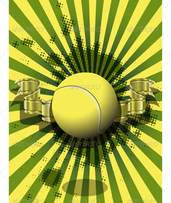 GraphicRiver Tennis Ball on a Green Background 4041649