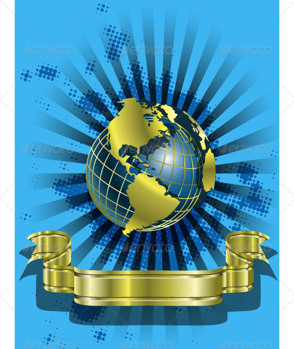 GraphicRiver Golden Globes on blue 4041738