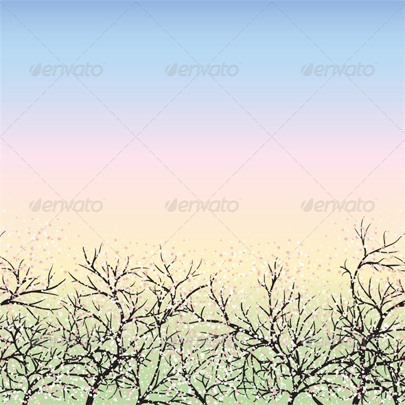 GraphicRiver Blooming trees and blue sky dawn 4041740
