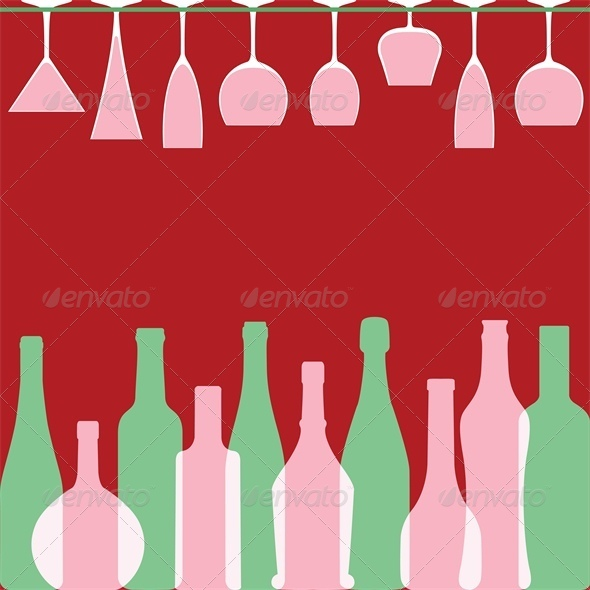 GraphicRiver Bottles and wineglasses in bar 4041817