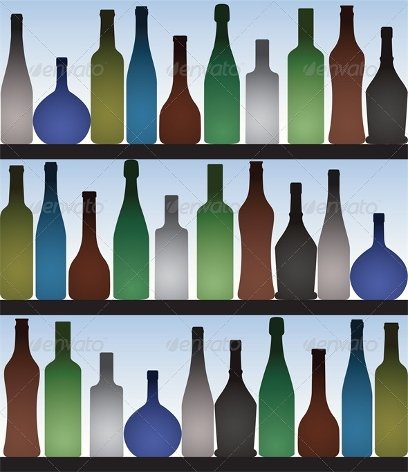 GraphicRiver Colored bottles in bar 4041820