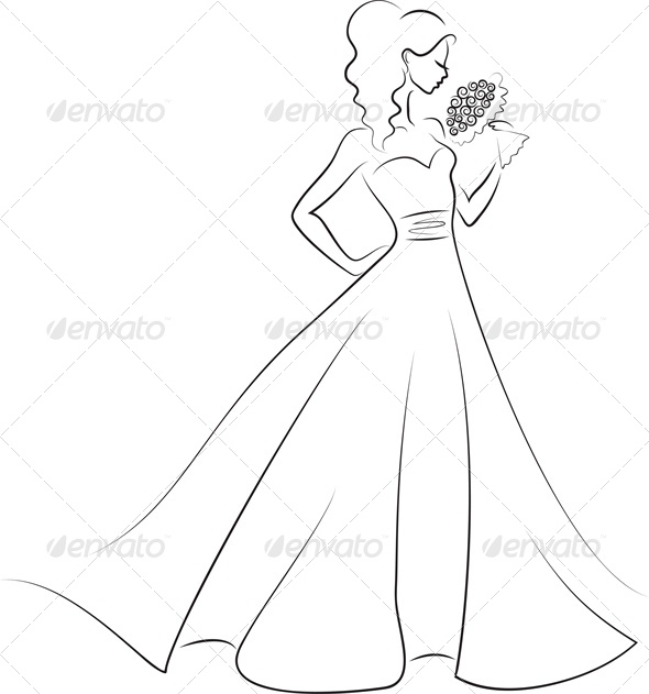 GraphicRiver silhouette of bride with bouquet 4041868