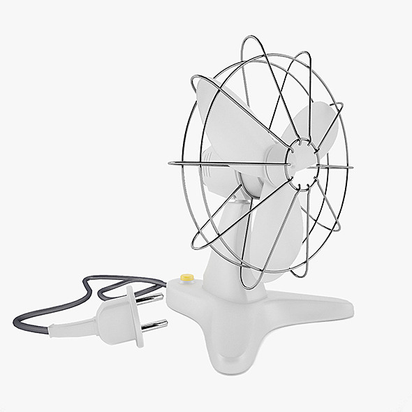 Retro Plastic Fan with Render Setup - 3DOcean Item for Sale