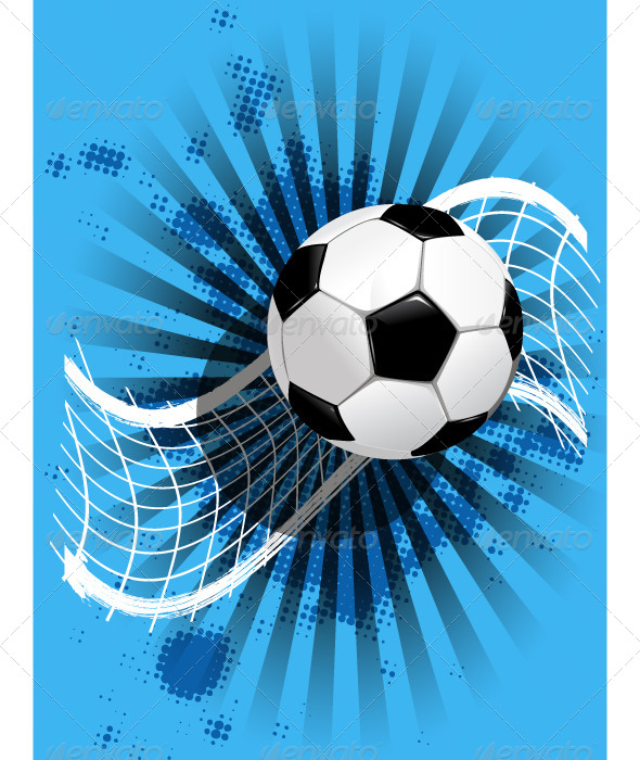 GraphicRiver Soccer Ball and Net on Blue 4042453