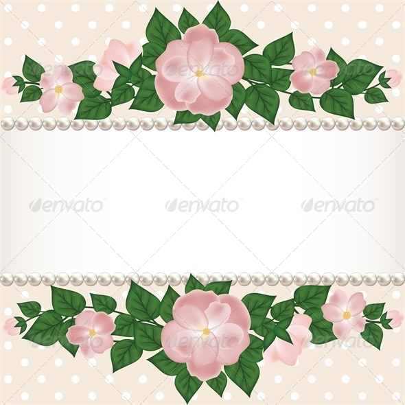 GraphicRiver Card with Roses and Pearls 4042595