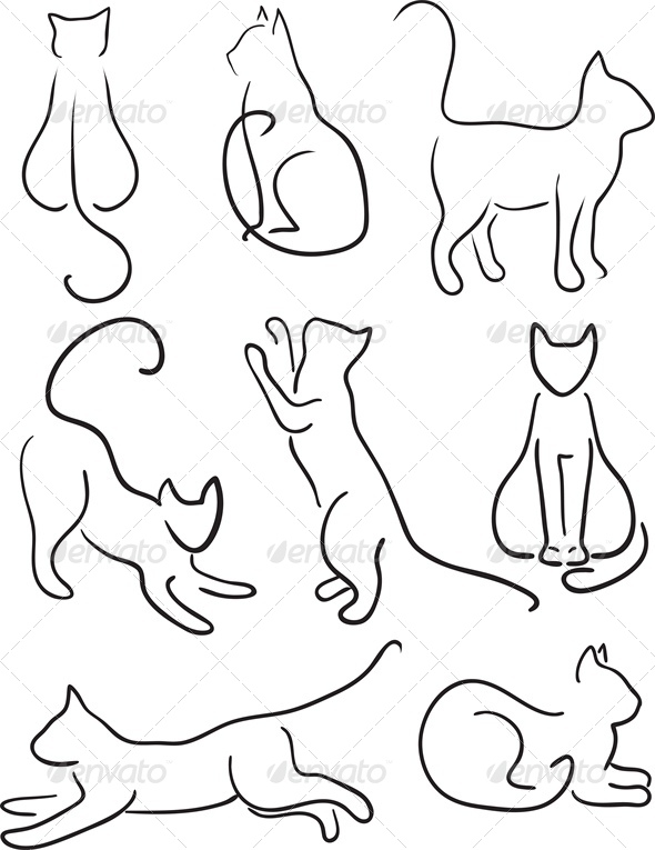 Contour Line Drawing Dog : Silhouette of cats graphicriver