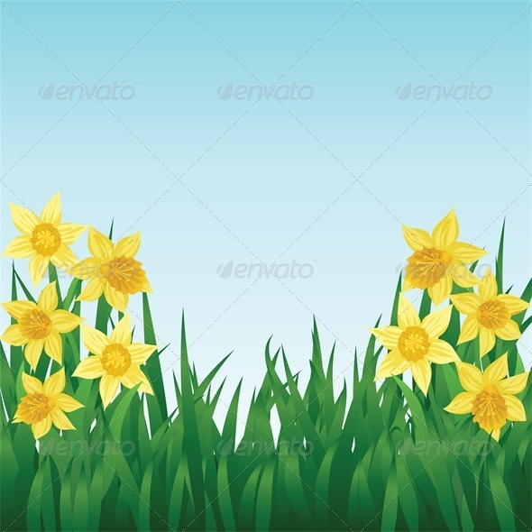GraphicRiver Spring Background with Daffodils and Grass 4042870