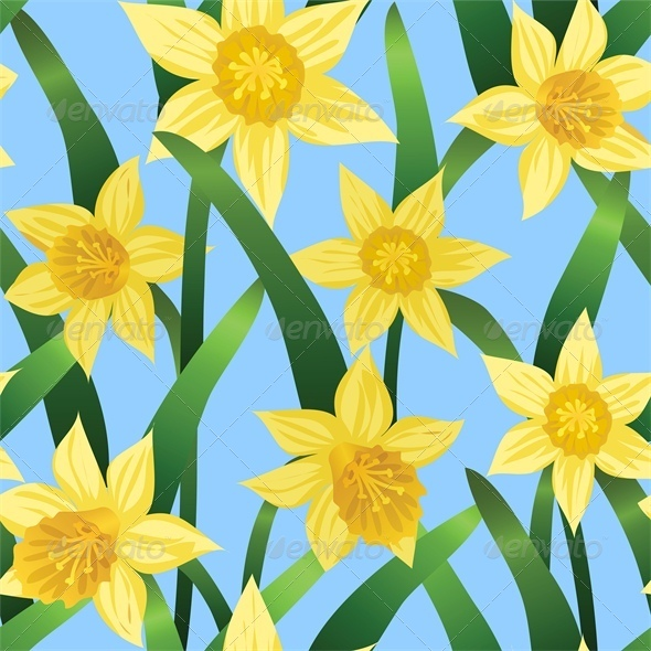 GraphicRiver Seamless Background With Daffodils on Blue 4042873
