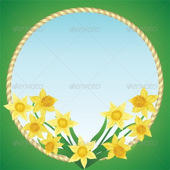GraphicRiver Spring Background with Daffodils and Grass 4042880