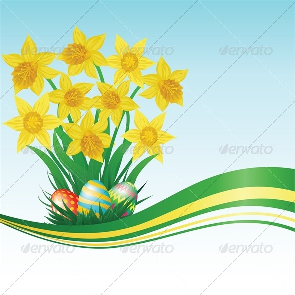 GraphicRiver Easter Eggs Daffodils Grass and Blue Sky 4042932