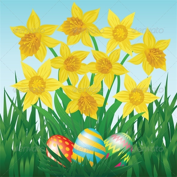 GraphicRiver Easter Eggs Daffodils Grass and Blue Sky 4042951