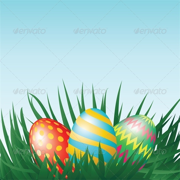 GraphicRiver Easter Eggs and Grass 4042953