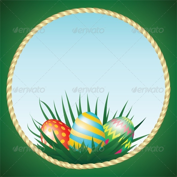 GraphicRiver Easter Eggs and Grass 4042956