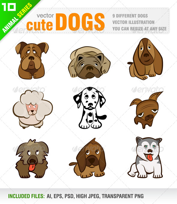 GraphicRiver 9 Cute Dogs 4042958