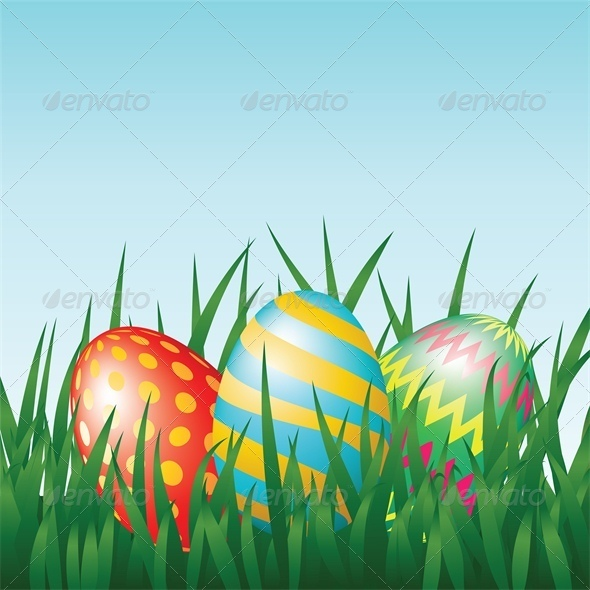 GraphicRiver Greeting Card with Easter Eggs on Meadow 4042960