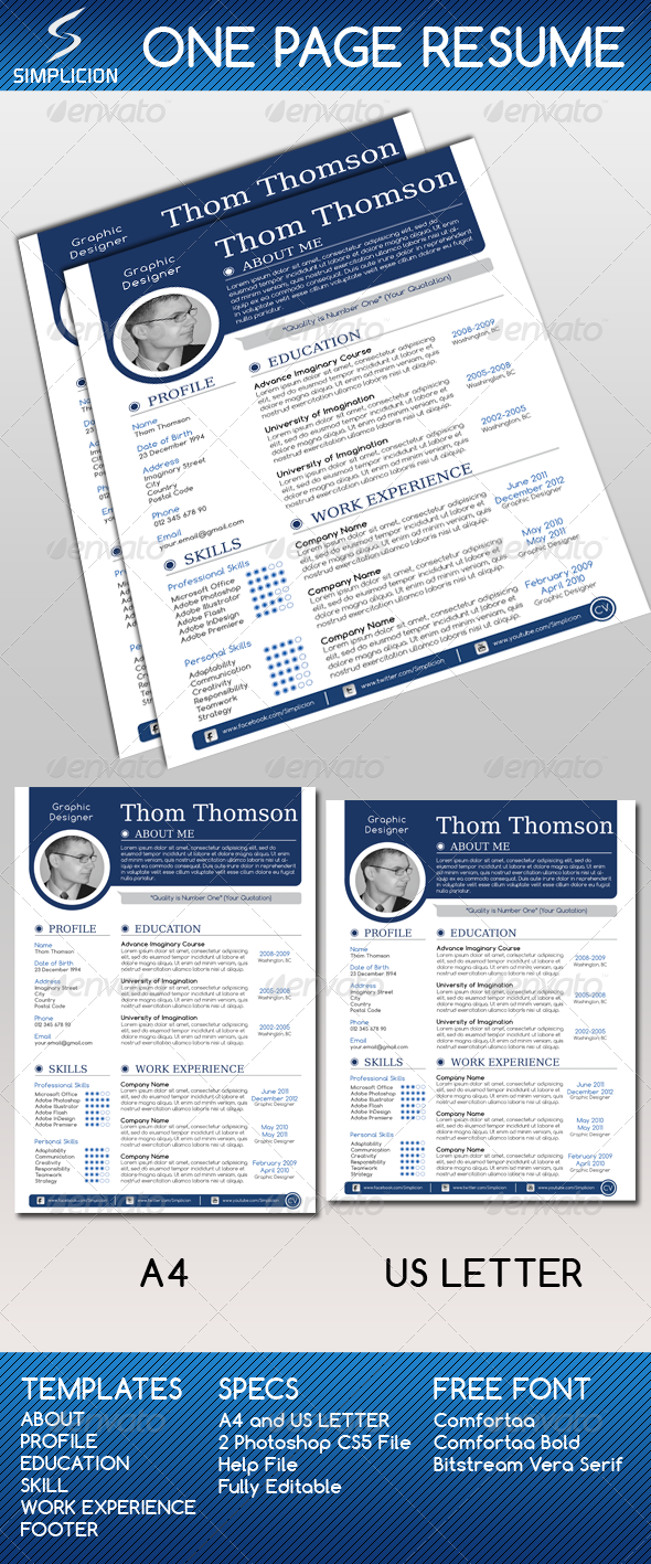 GraphicRiver One Page Resume 3890441