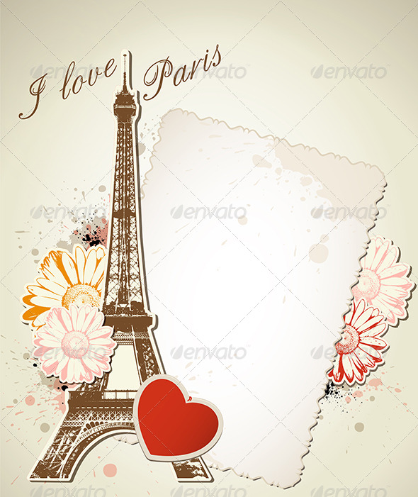 GraphicRiver Old Frame and Eiffel Tower 4043021