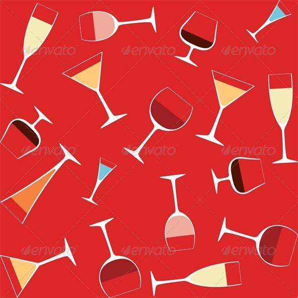 Seamless Background With Alcohol in Glasses