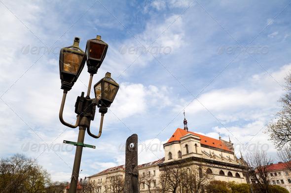 PhotoDune old lantern in city over sky 4102090