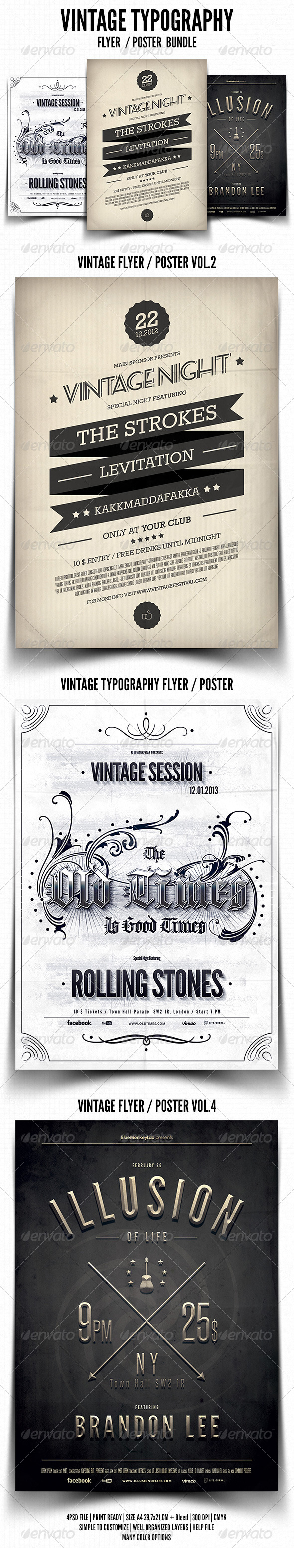 Vintage Typography Flyer / Poster Bundle - Events Flyers