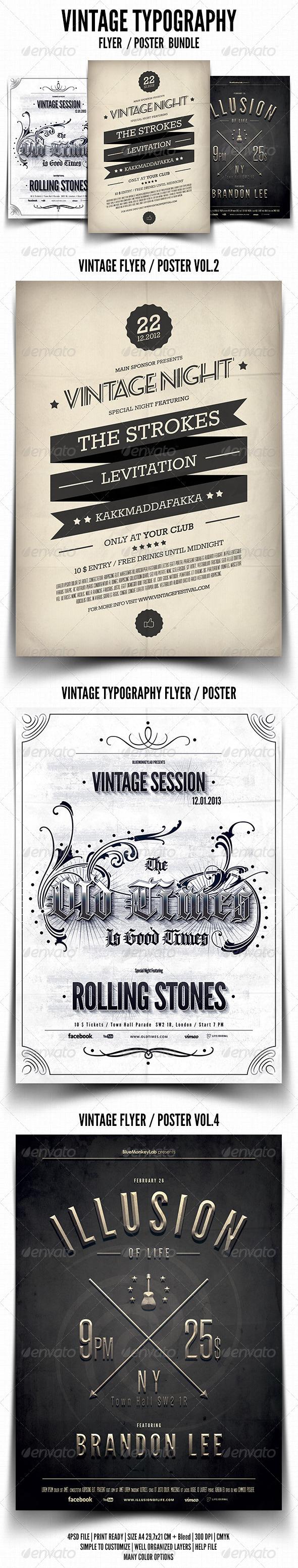GraphicRiver Vintage Typography Flyer Poster Bundle 4043213
