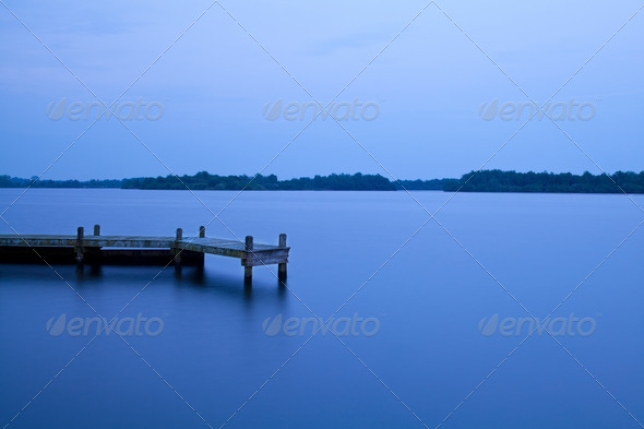 PhotoDune wooden pier on the lake at night 4102251