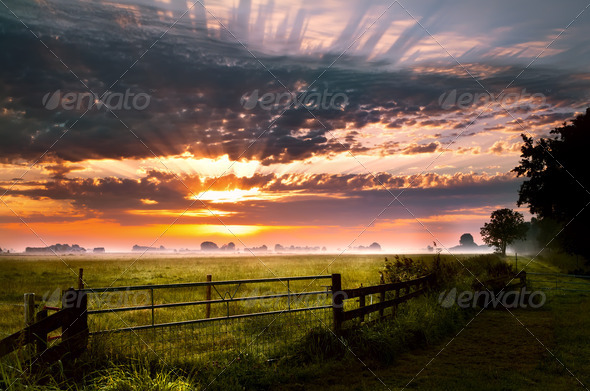 PhotoDune colorful sunrise in rural Groningen 4102252