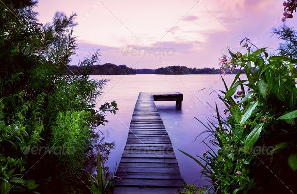 PhotoDune pier in lake at sunrise 4102287