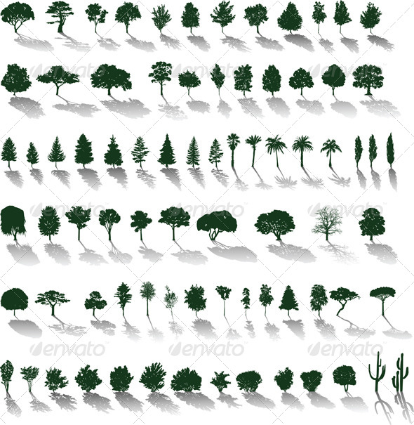 GraphicRiver Vector Trees with Shadows 4043475