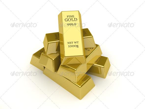 PhotoDune Gold bars Concept 3D illustration 4044474
