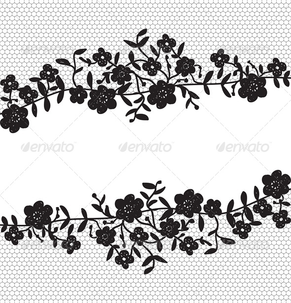 GraphicRiver Invitation Card with Floral Lace Border 4043746