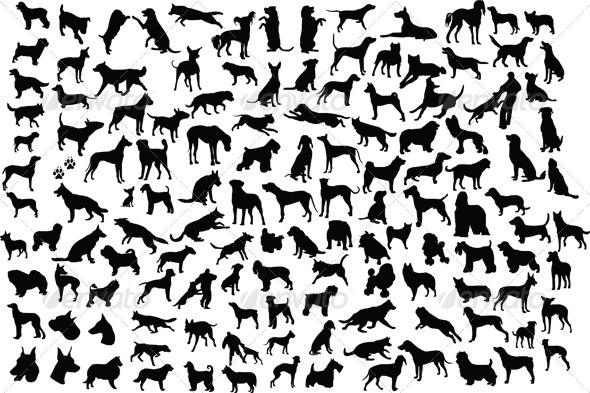 GraphicRiver Dog Silhouettes 4043798