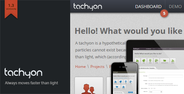 Tachyon HTML5 Admin Template - The item page featured image.