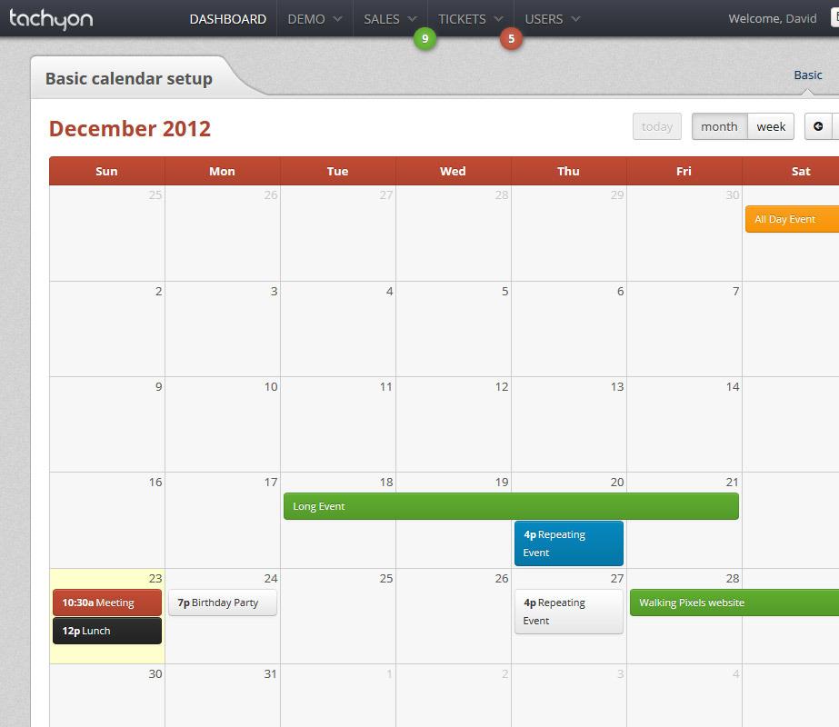 Tachyon HTML5 Admin Template - Tachyon calendar