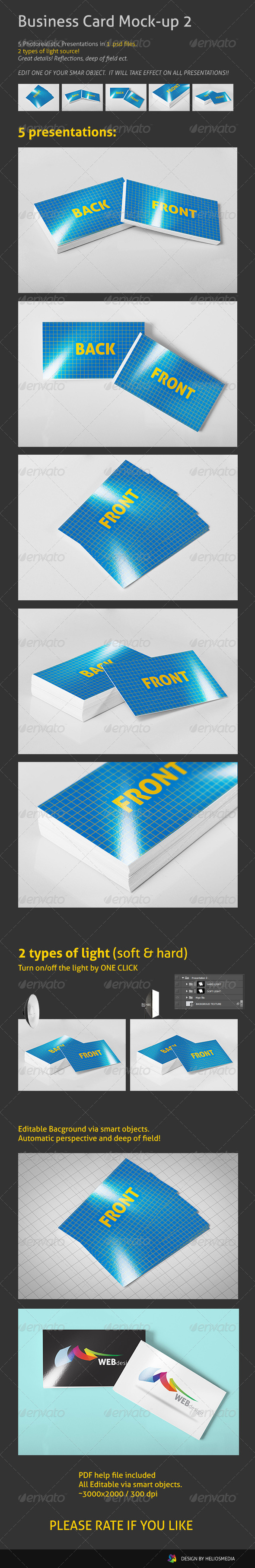 Realistic Business Card Mock-up 2 - Business Cards Print