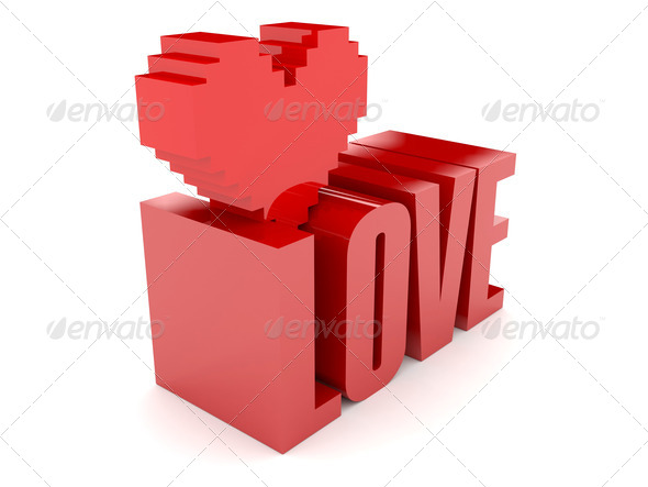 PhotoDune 3D text Love and heart Concept 3D illustration 4044483