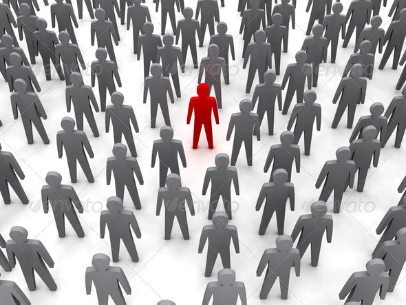 PhotoDune Unique person in crowd Concept 3D illustration 4044489