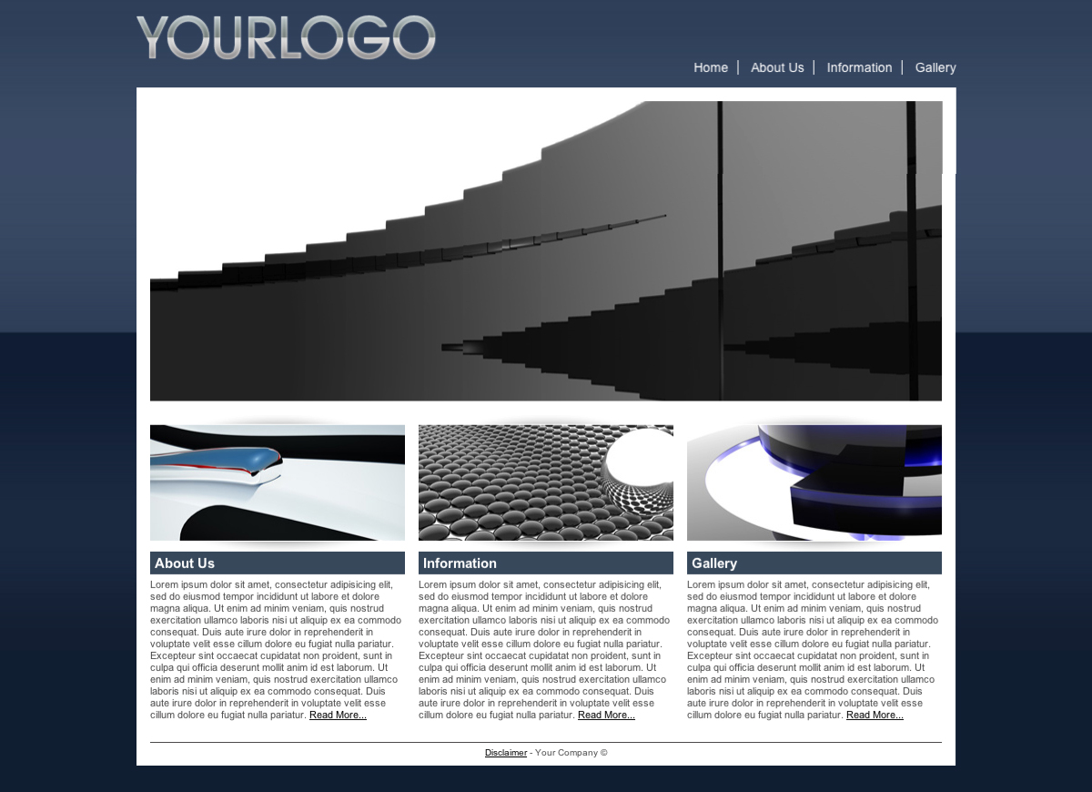 Blue Business Template - This is the homepage: With one large header image, and 3 information blocks linking to the other 3 pages.