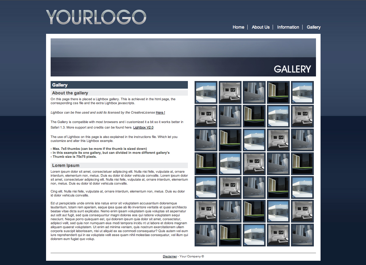 Blue Business Template - This isthe Gallery page: WIth a header image, 1 block for text and onedesigned to display thumbs for the Lightbox gallery.