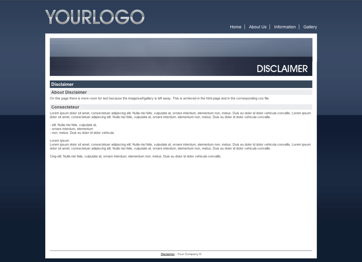 Blue Business Template - This is the Disclaimer page: WIth a header image, 1 block for text.