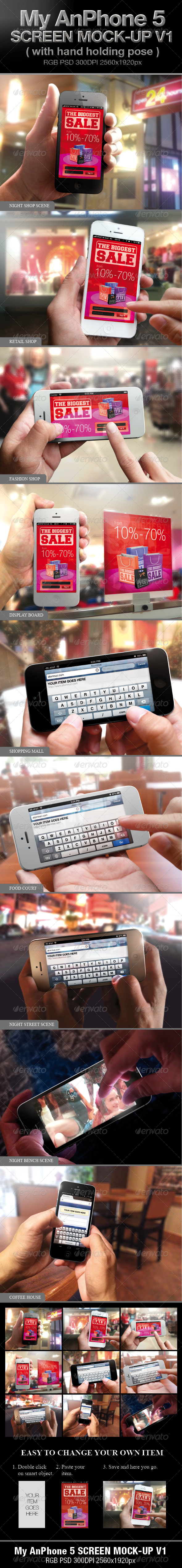 GraphicRiver Iphone 5 screen Mock-up V1 3933653