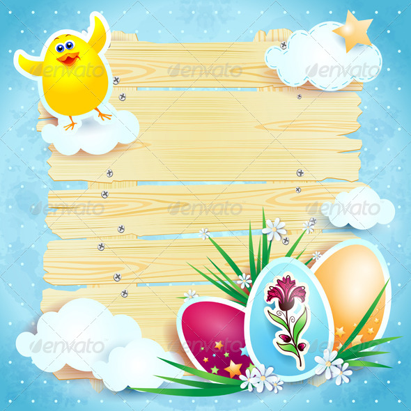 GraphicRiver Easter background with chick 4045042