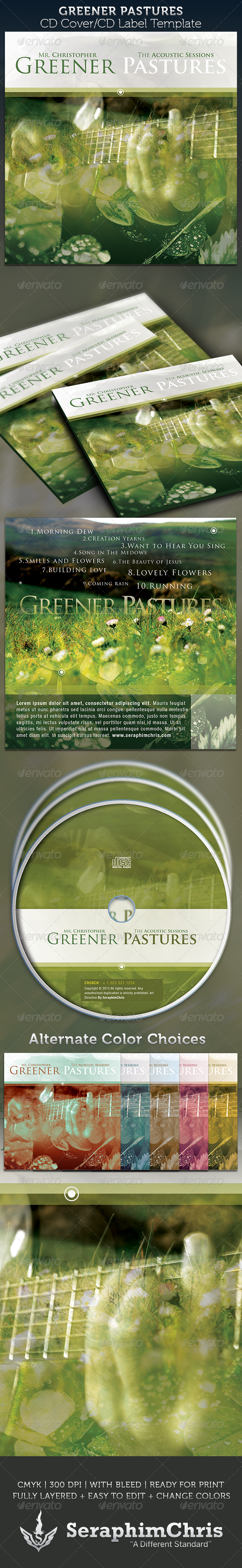 GraphicRiver Greener Pastures CD Cover Artwork Template 4045890